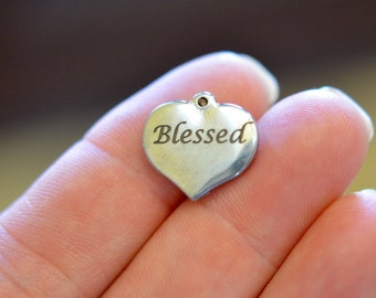 Blessed Custom Laser Engraved Stainless Steel Heart Charm CC117