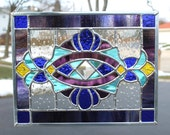 Stained Glass Panel in Cobalt Blue, Purple, Sky Blue and Yellow