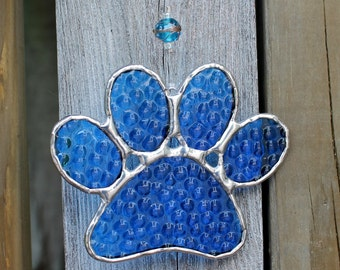 Paw Print Stained Glass Suncatcher in Blue