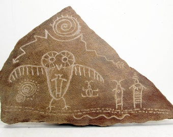 Wise Owl Hand Carved Rock Petroglyph