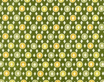 Diamond Dandy fat quarter, Denyse Schmidt fabric, Hope Valley yardage Piney Woods green, army green chartreuse yellow, fat quarter, supply