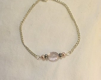Faceted Pink Crystal Quartz Oval and Mauve Freshwater Pearl Bracelet on Sterling Silver