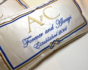 pair wedding kneeling pillows padrino madrina de cojines bridal embroidery on silk satin with bride groom names date any color