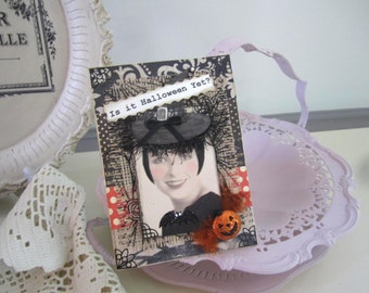 Vintage-style Halloween Card - Black Orange Card - Halloween Card