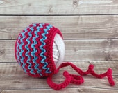 Rouge Red and Turquoise Newborn Baby Bonnet, 0 to 3 Month Ready to Ship Baby Hat