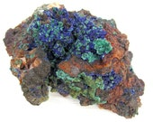Azurite Crystals with Malachite Druzy on Martrix - Natural Mineral Specimen