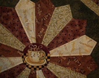 Java Kona Coffee Dresden Plate Quilted Table Topper