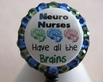 Neuro Nurse ID Badge Holder Retractable Reel using Swarovski Elements