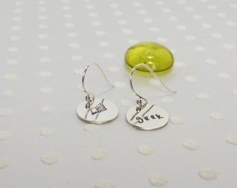 Geek Book Lover Nerd - Reader Writer Librarian Bibliophile - Hand Stamped Earrings - Custom Jewelry - Silver Earrings – Custom Earrings