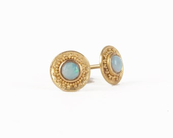 golden studs with opals and granules