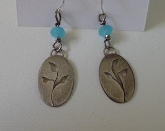 Sterling Silver Leaf design earrings, Autumn earrings