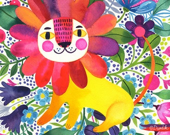 Lion in Bloom... - limited edition giclee print of an original watercolor illustration (8 x 10 in)