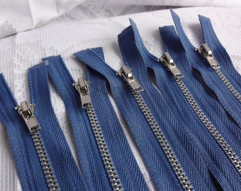 "15.5 inch Blue Silver Teeth Metal Separating Zippers, 15.5"" Separating Zippers, Coat, Jacket Zippers, Blue Zippers, 5 Pieces"
