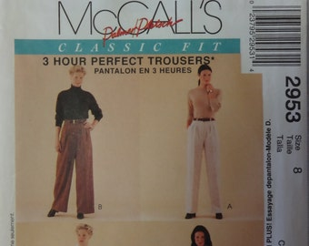 "McCalls 2953 ""Classic Fit"" 3 Hour Perfect Trousers Sewing Pattern Misses' Women's Pants, Shorts, Fitting Shell, Size 8"