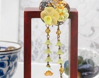 Lemon tea poppies blossom hair pick (HP)