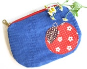 Red blue corduroy gingham apple coin purse