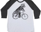 Raccoon on a Bicycle - Tri-Grey and White Baseball Tee