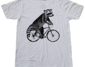 Raccoon on a Bicycle - White American Apparel Tee
