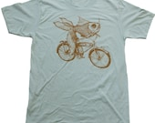 UNISEX Goldfish on a bicycle t shirt - Mens American Apparel Seafoam Green Tshirt- Dark Cycle Clothing