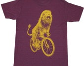 Mens T Shirt - Lion on a Bicycle - Unisex American Apparel Tri-Cranberry