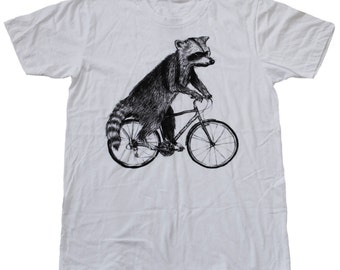 Raccoon on a Bicycle - Mens T Shirt, Unisex Tee, Cotton Tee, Handmade graphic tee, Bicycle shirt, Bike Tee, sizes xs-xxl