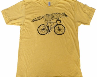 Fox on a Bicycle- Mens T Shirt, Unisex Tee, Cotton Tee, Handmade graphic tee, Bicycle shirt, Bike Tee, sizes xs-xxl