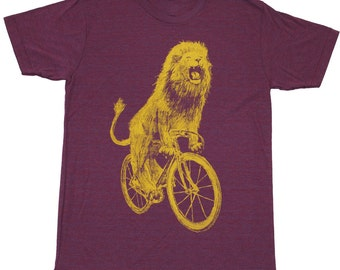Lion on a Bicycle - Mens T Shirt, Unisex Tee, Tri Blend Tee, Handmade graphic tee, sizes xs-xxl