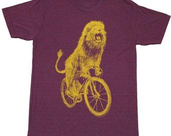 Mens T Shirt - Lion on a Bicycle - Unisex Tri-Cranberry