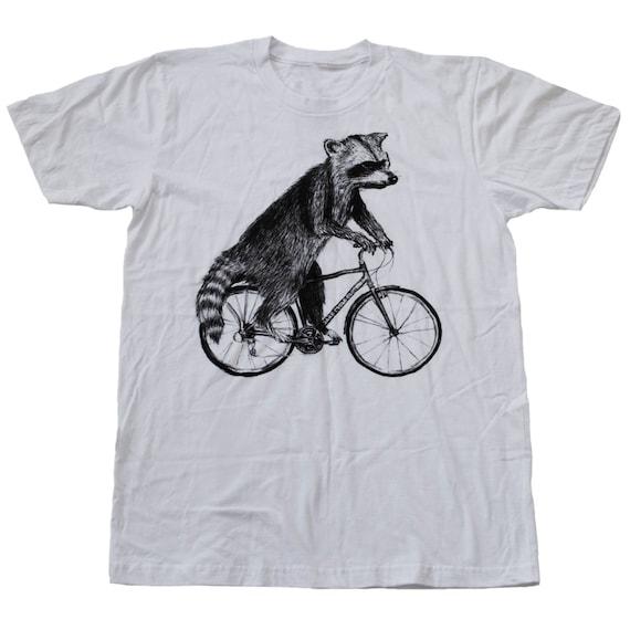 raccoon on a bicycle mens t shirt unisex tee cotton tee