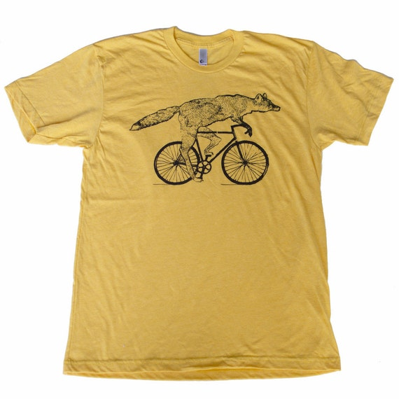 Fox on a Bike - Heather Gold Unisex Shirt - American Apparel  - Available in XS, S, M, L, Xl