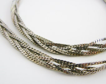 Vintage long silver braided chain necklace (L)