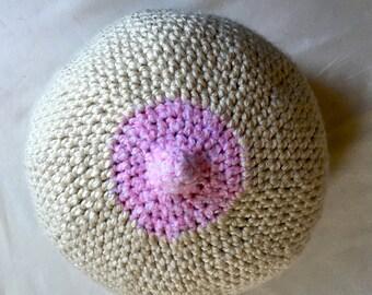Boob Pillow, Crochet Breast Cushion