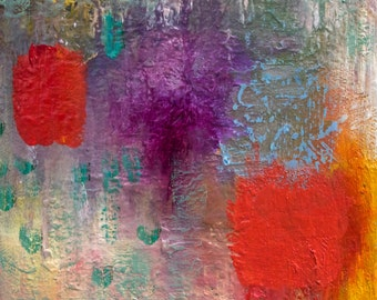 Abstract Art,  Modern Art, Original abstract oil on stretched canvas painting, 6 x 6 x 1 inches by Romany Steele, Gratitude Asana