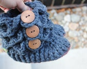 Ready to ship, LEATHER SOLES Padraig 100% Merino Wool Slippers Crochet Navy Blue Crocodile Stitch Booties, socks 1-3 Yearold 6.5 inches long
