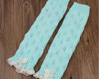 Ready to be shipped today - Trendy Women's MINT Knit Button Lace Trim Leaf Leg Warmer- boot socks - Women Leg Warmers - Mint Leg Warmers