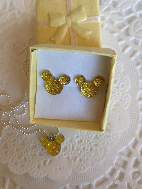 MOUSE EARS Necklace and Earrings Set for Themed Wedding Party in Dazzling Yellow Resin Acrylic