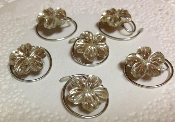 Bridal Hair Swirls Twists  Spins Coils Vintage Glass Rhinestone 5 petal flower Bride Bridesmaids Flower Girl