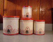 Vintage Antique Kitchen Canisters /red, white and black/ Southern Belle  in Rose Garden