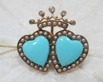 Victorian 14K Gold Double Heart Persian Turquoise, Diamond & Seed Pearl Pendant Brooch