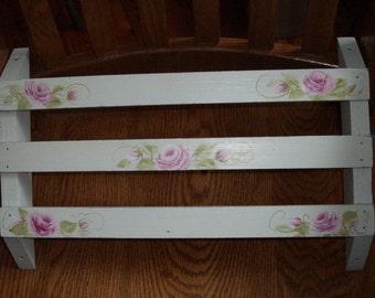 Handpainted Pink Roses Vintage Wooden Church Pew Book Shelf