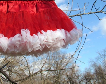 Red Pettiskirt, Red and White Sparkle Pettiskirt Size 12 to18 months, Photo Shoot Skirt