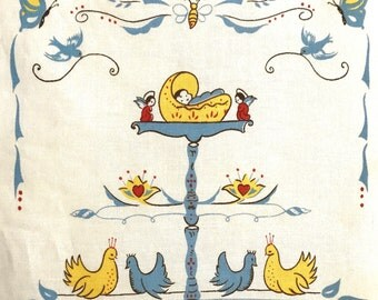 Vintage Family Tree Baby Angels Genealogy Chart Styled by Dewan Nursery Wall Hanging