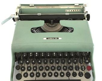 Vintage Olivetti Typewriter Lettera 22 Green Paint Zippered Case