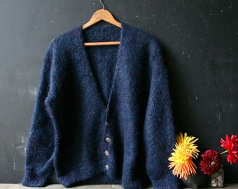 Vintage Mohair Wool Cardigan Sweater Navy Blue Unisex Men or Womens Vintage From Nowvintage on Etsy