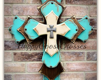 Wall CROSS - Wood Cross - Large - 4-layers - Antiqued Turquoise, Stain, and Beige
