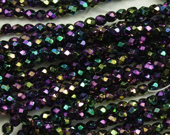 Jet Black Purple Iris Czech Glass Fire Polish Beads 4mm - 50