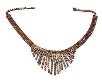 Vintage HOBE mesh & rhinestone fringe Necklace signed