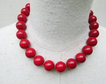 "Cherry Red Scarlet Chunky Beaded Necklace , ""Mi Corazon"""