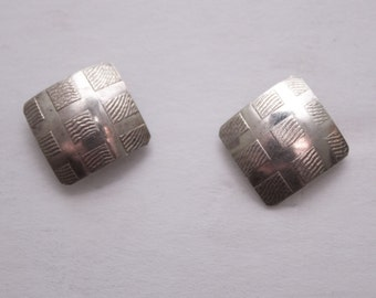 square geometric silver stud earrings
