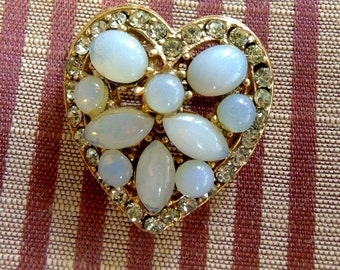 Vintage  Heart Shaped Brooch, Scatter Pin,  Gold Metal And Moonstone Brooch,  Mother's Day Gift